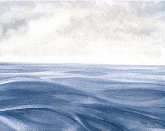 Watercolor Seascape Art: Original Ocean Painting with Cloudy Sky, Nautical Art, Blue Gray Sea Painting, Water, Clouds, Relaxing Art 5X7