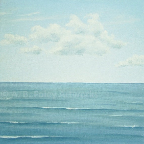 "Original Ocean Painting, Calm Seascape Painting, Blue Sea Art, Peaceful Water and Blue Sky Fine Art, Turquoise Ocean Art, 10"" X 10"""