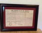 President Martin Van Buren land deed 1837