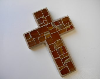 Honey Brown Stained Glass Mosaic Cross