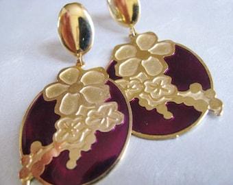 Vintage Red Rose Earrings - Rose Stud Earrings - Flower Earrings