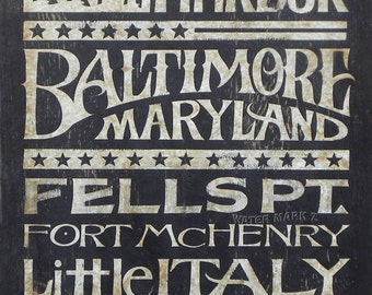 Baltimore Subway- Word Art  Print   wall decor