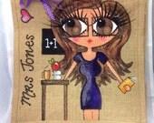 Handpainted Personalised Best Teacher Jute Handbag Gift Present Celebrity Style Bag with Glasses