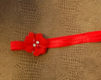 Infant Toddler Headband Red Puff Flower with rhinestone and pearl center