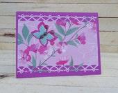 Blank Happy Birthday Card Purple Butterfly Flowers