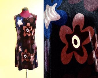 1990s Vintage Tessuto Liquid Velvet Floral Dress size L (M L) bust 36