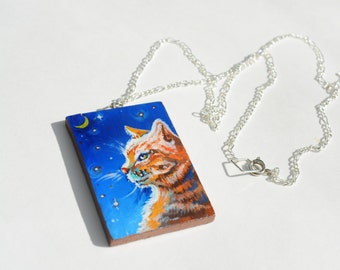 Midnight Tabby pendant, Hand painted wooden pendant with silver chain, autumn cat jewelry