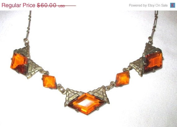 Vintage 1920 Topaz Amber Color Art Deco Necklace - Unique and Unusual
