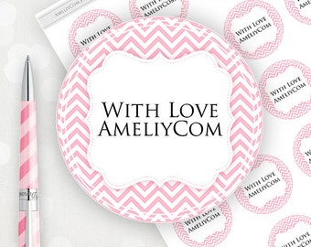 Editable Printable Labels, Stickers, Tags. Pink Chevron Custom Mason Jar Labels, Gift Tags DIY Labels template