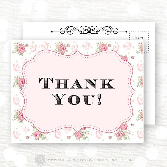 Printable Thank You Card Rustic Pink Shabby Chic Flowers
