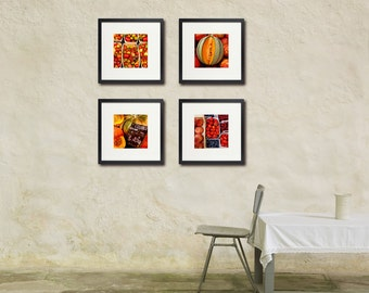 Food Photography, Warm Colors, Set of Four, Kitchen Art, Restaurant Art, For the Cook
