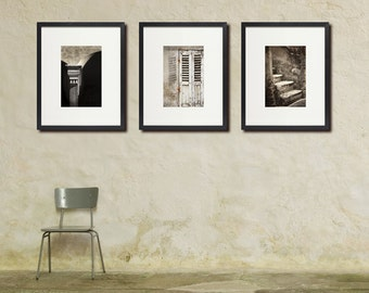 Rustic Europe Photo Set, Warm Monochrome, Neutral Colors, Large Wall Art, Set of Three 3 Prints