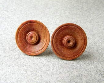 Wooden button earrings AUTUMNER