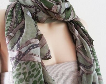 ON SALE Print Scarf - Green Khaki Beige Large Long Scarf Shawl Cowl