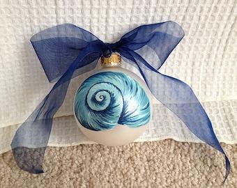 Aqua Shell on Pearl Ornament