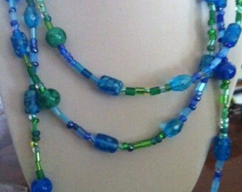 Blue Green Layered Necklace with Hypo Allergenic Earrings
