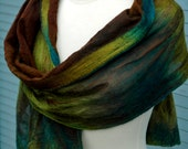 Chocolate Silk Nuno Felted Shawl. Abkhazi Garden. Woodland. Grouse. Polwarth. Abstract Design Highlights.