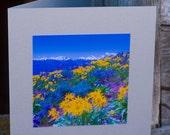 Tetons, Wildflowers, Blue, Yellow, Mountains, Jackson, Wyoming, Handmade, Greeting Card, Square