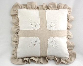 Linen Ruffled Pillow with Cutwork Accents
