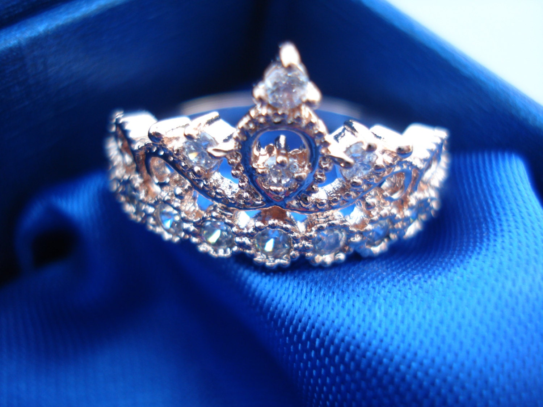 Rose Gold Tiara Princess Ring Size 6 Swarovski by AOSDESIGN Gold Princess Crown
