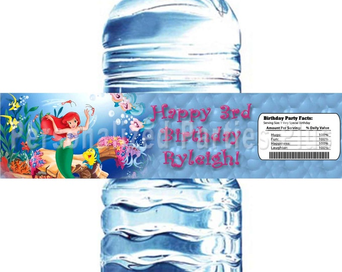 Little Mermaid - Princess Ariel water bottle labels Personalized and emailed to you