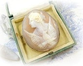 Antique Victorian Cameo Brooch Eos Goddess of Dawn with her Eagle