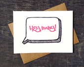 Letterpress Funny New Baby Card Hey Baby Neon Pink Graffiti Tag Illustration