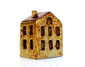 Rustic Yellow  House  Ceramic Sculpture