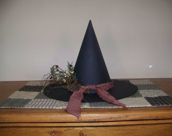 Primitive Witch Hat Shelf Sitter With Burgundy Trim
