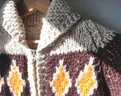 Chunky Wool Shawl Collar Tribal Sweater