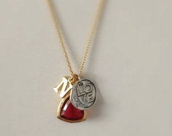 Tiny Gold Initial with Glass Birthstone Charm and Love Charm