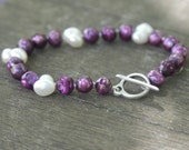 Fancy pearl bracelet diamond cut mallow burgundy violet silverclasp handcrafted freshwater pearls