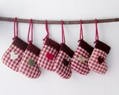 Country Christmas Little Fabric Stockings Christmas Tree Ornaments Set of 8
