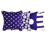 Purple/White Flowers, Spots and Stripes Catnip Pillows (set of 4)