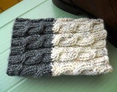 Knitted  Boot Cuffs  Ivory tweed with Dark Grey Cable Knit Boot Cuffs  Leg Warmers  Boot Toppers  Boot Socks