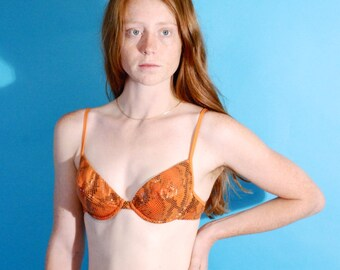 SALE 90s Orange Snakeskin High Waisted Bikini Small Medium Victorias Secret Women's Vintage Swim suit