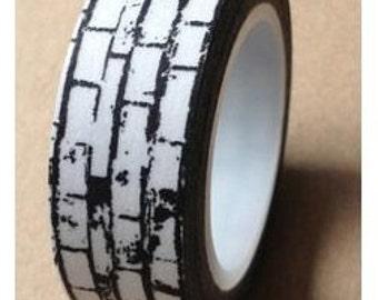 Black and White Brick  Washi Tape-Love My Tapes-Masking Tape