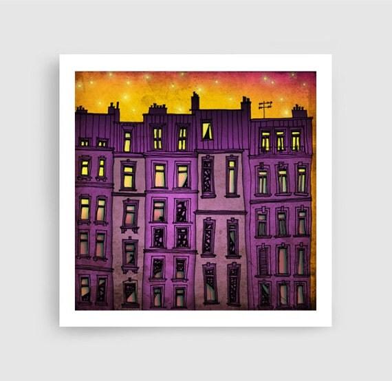 Paris Purple Facade Paris Illustration Art Illustration By