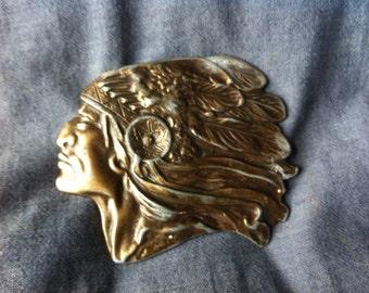 Brassed Big Chief Vintage Base Metal Belt Buckle Native Pride Profile and Regalia