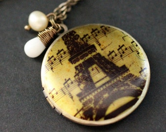 French Locket Necklace. Eiffel Tower Necklace with Coral Teardrop and Pearl. Eiffel Tower Locket. Paris Necklace. Handmade Jewelry.