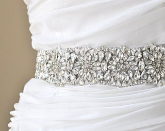 Wedding Sash - Bridal crystal belt, rhinestone sash, bridal sash, bridal belt