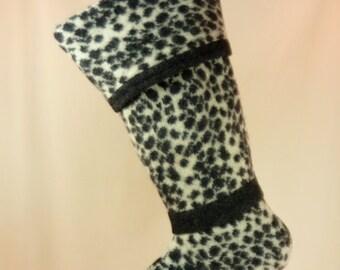 Christmas Stocking Felted Wool//Animal Print//OOAK//Black//White 459