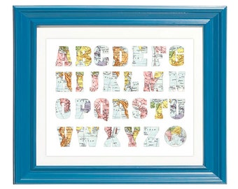Printable - Map Alphabet vintage playroom nursery print art kid children travel atlas theme baby boy print, baby girl print
