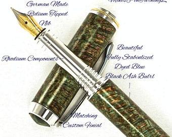 Custom Fountain Pen Beautiful Black Ash Burl Stabilized and Deep Dyed Blue Custom matching Finial Rhodium and Gold Titanium Hardware 663FPB
