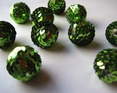 Emerald Green Sequin Beads, 4 pcs 20mm Gumball Bead, Chunky Necklace Bead, Bubblegum Bead, Acrylic Bead