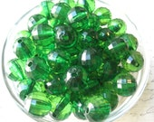 Green Gumball Bead, 10 pcs, Faceted Beads, 16mm Translucent Beads, Bubblegum Bead, Necklace Beads