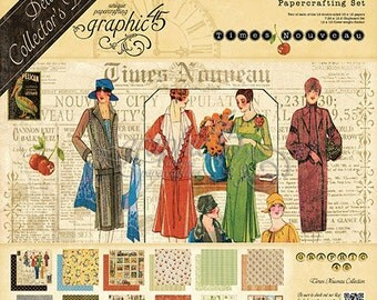 """3 pc set-Graphic 45  """"Times Nouveau - Deluxe Collector's Edition""""  12 x 12 Paper Cardstock Collection"""