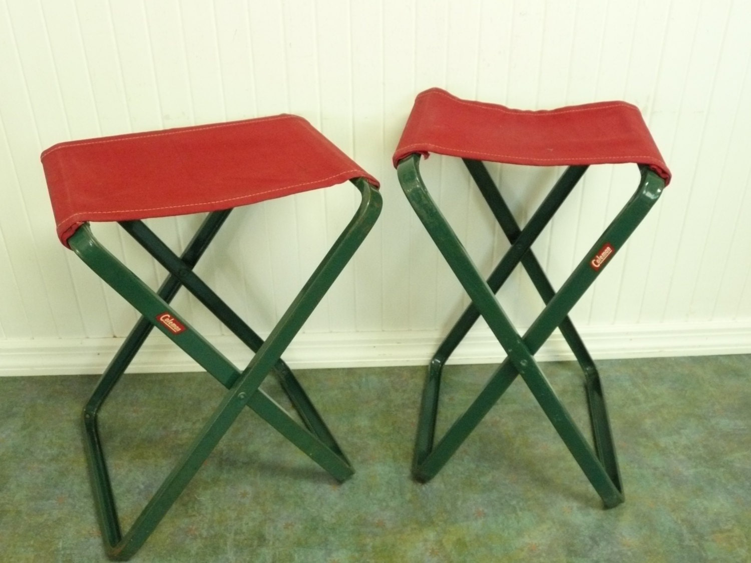 Two Vintage Camp Chairs Coleman Camping Fishing Stools Set