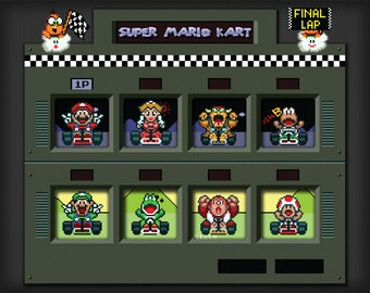 Super Mario Kart Art - Digital Art Print - Super  Nintendo Tribute