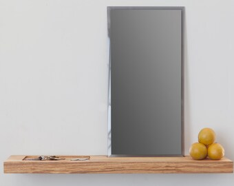 Ash Floating Foyer Shelf with Mirror